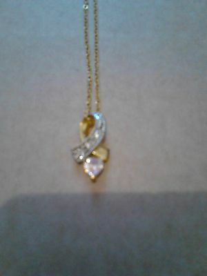 Women's Pink Heart And Diamante Bow Pendant Necklace