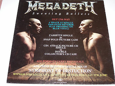 """Megadeath 2 Sided Cardboard Adverting For Sweating Bullets Approx 12"""" Square"""