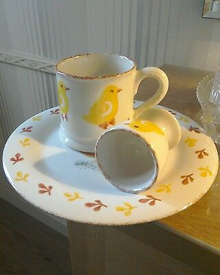 """*● Hand Decorated Hens Breakfast Set Exclusive To Laura Ashley """"free Postage"""""""