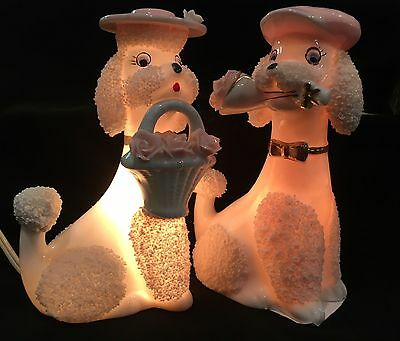 Adorable Pair Of Vintage Poodle Nite Lights! No Chips Noted And Both Working!!