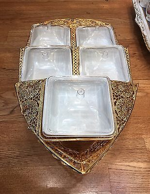 Dry Fruit Serving Boat Design Gold Plated Stand with 5 Ceramic Bowls