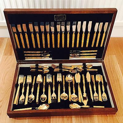 WEBBER & HILL CONTINENTAL GOLD PLATED CANTEEN OF CUTLERY (New)