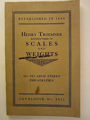 Henry Troemner Scales & Weights Catalog #1921 w/ string holders,  coffee bins