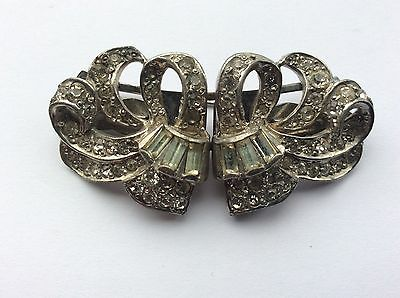 Vintage Art Deco clear crystal diamante duette dress clips brooch.