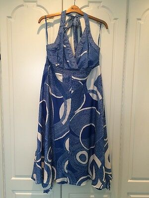 Monsoon Blue/white Circle Pattern Halter Neck Dress Size 20 - New With Tags