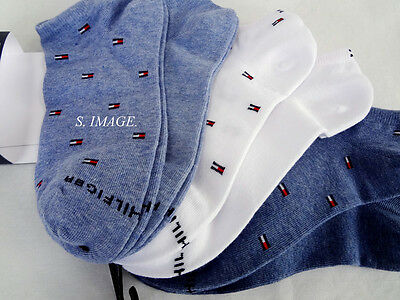 TOMMY HILFIGER Women's Ankle Socks 6 Pairs Cotton Blend Blue/White - New!