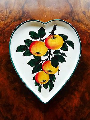 """Wemyss Ware R.H&S Pottery Heart Shaped Dish """"Apples"""" 1895-1920"""