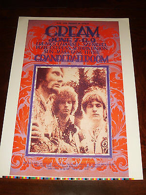 CREAM MC5 CONCERT POSTER DETROIT 1968 2nd NUMBERED SIGNED by GARY GRIMSHAW 26/35