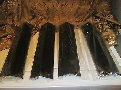 4-pk BBQ Gas Grill Heat Plates Covers Black Steel Heat Shield Replacement Parts