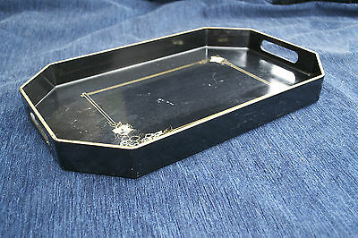 Vintage Black and Gold Floral Lacquer Tray, Retro
