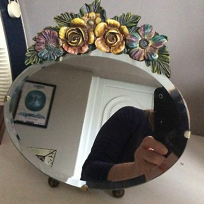 Antique Art Deco Barbola Oval Beveled Edge Standing Mirror.