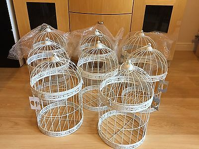 x8 Extra Large 44cm White Metal Birdcage's Wedding Table Decorations Centrepiece