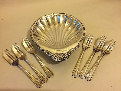 *masonic & Monarchy Interest - Silverplated Scallop Dish & 6 Knorks From 1937