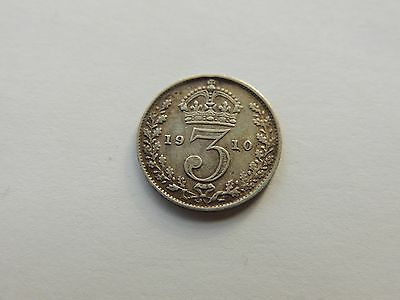 1910 EDWARD VII SILVER THREEPENCE COIN - Ref 201