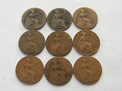 DATE RUN OF 9 EDWARD VII HALF PENNY COINS (1902 TO 1910 INCLUSIVE) - Ref 225