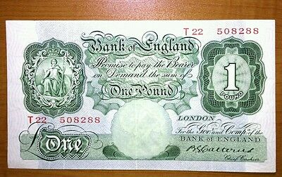 Bank Of England £1 One Pound Banknote  Cashier Catterns 1930 Ef+