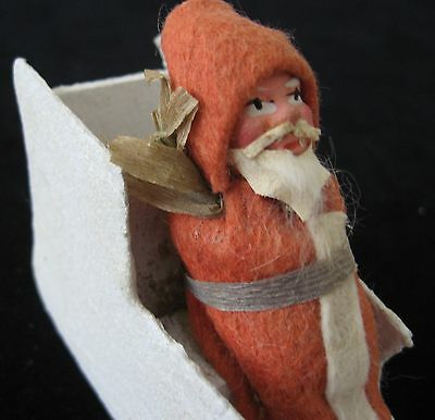 Vintage Antique German Mark Candy Container Santa Belsnickle Clay Face Sleigh