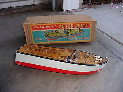 1950s NBK Japan Battery Wood Toy Speed Boat w Electric Motor & Box Hand Painted