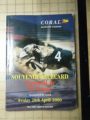 2000 Romford Souvenir Greyhound Racecard - El Tenor Final Race