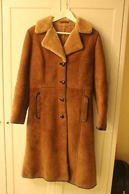 Long Ladies Vintage Shearling Coat, Size 12