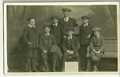 Vintage Postcard -  Group of Males (7) - (Unknown Subjects) - Unposted