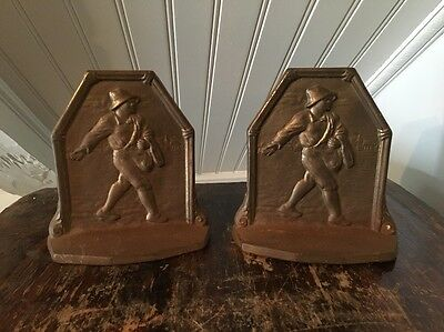 The Sower Circa 1920s Art Deco Cast Iron Bookends 1930 Connecticut Foundry COPR
