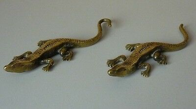 Two Brass And One Metal Crocodiles/lizards