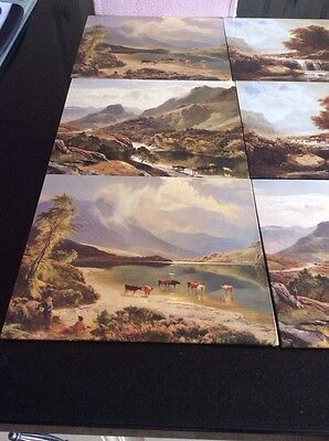 set of six vintage tablemats highland scenes, in box