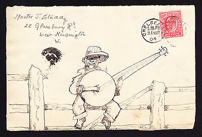 GB KEVII stamp on FRONT of 1904 cover with hand illustrated music banjo player