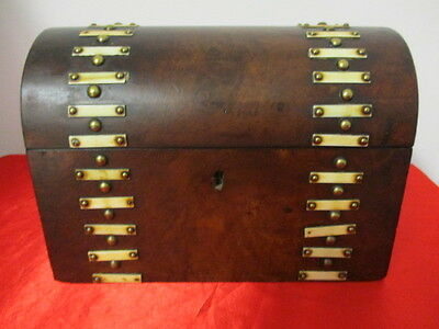 Antique Vintage Walnut Verneered & Brass Domed Dome Panel Shaped Tea Caddy Rare