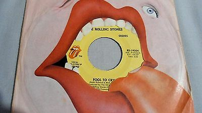 """THE ROLLING STONES 7"""" FOOL TO CRY b/w HOT STUFF. USA RS-19304 """"OLDIES"""" +BAG"""