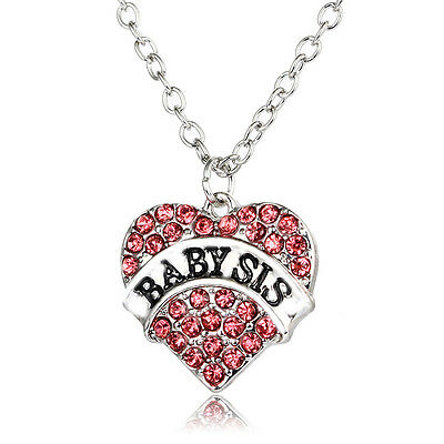 Pink Gifts Fashion Charm Party Women Crystal Heart  Baby Sister Pendant Necklace