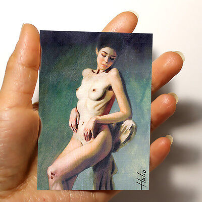 "Original Art Picture Sexy Erotic Watercolor Acrylic Painting ""nude Woman"" Aceo"