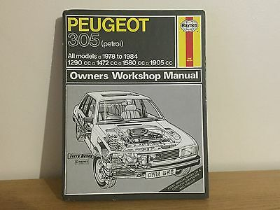 HAYNES MANUAL PEUGEOT 305 (PETROL). 1978 TO 1984. ALL MODELS. No. 538. Used