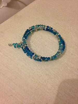 925 silver pl natural blue agate bangle 7-8 inches