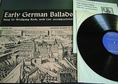 "Wolfgang Roth - Early German Ballads PEASANTS WAR SONGS Folkways Records,12"" Foc"