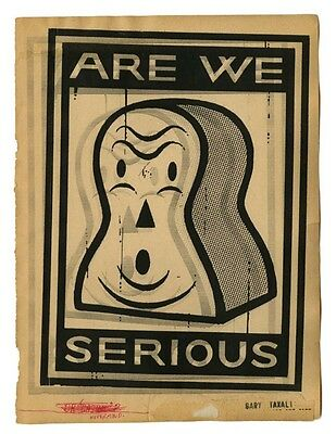 """Gary Taxali Signed Numbered print """"Are We Serious"""" with Banksy Obey Sticker"""