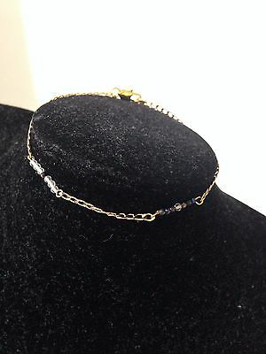 18 ct yellow gold natural topaz & black spinel bracelet  7 1/4 inches  pl