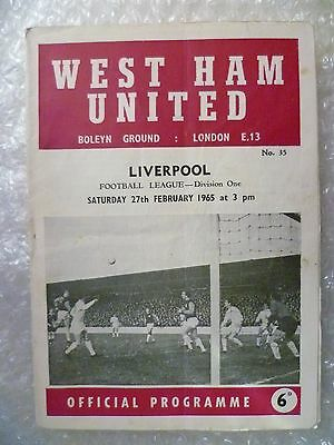 1965 WEST HAM UNITED v LIVERPOOL, 27th Feb (League Division One)