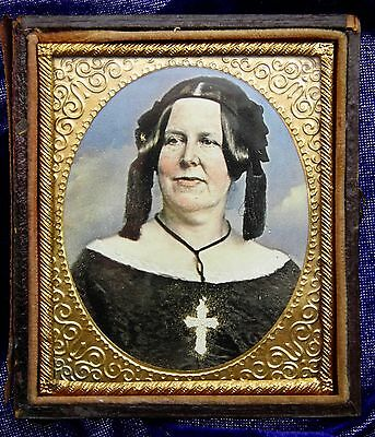 Very Rare Victorian Ambrotype frame and picture of a religious woman c1860s