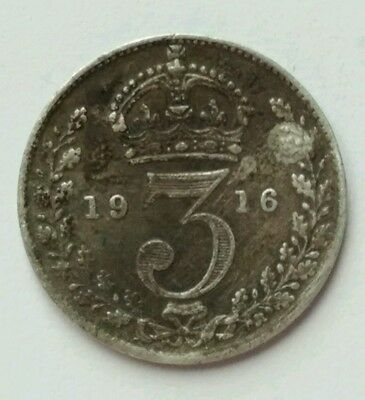 1916 George V Silver Threepence Coin