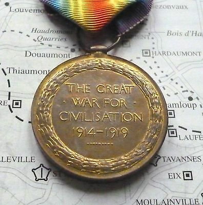 WW1 VICTORY MEDAL / J. PHILLIPS / KILLED IN ACTION / From SURREY / RIFLE BRIG.
