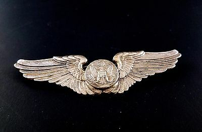 Vtg WWII USAAF Army Air Force Military PILOT Wings STERLING Silver Badge Pin