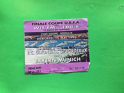 Ticket Bordeaux - Bayern Munchen 1995/1996 Final Uefa Cup 1996