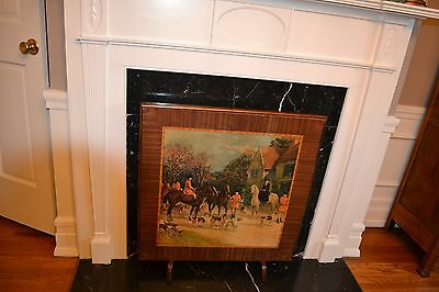 Antique Decorative Wooden Folding/Card/Game Table, Firescreen, Standing Painting