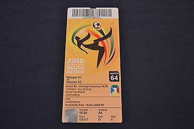 2010 FIFA World Cup Final Ticket Netherlands v Spain Good Con.