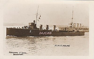 "Royal Navy Real Photo RPPC. HMS ""Milne"" Admiralty Destroyer. Rare view! c 1914"