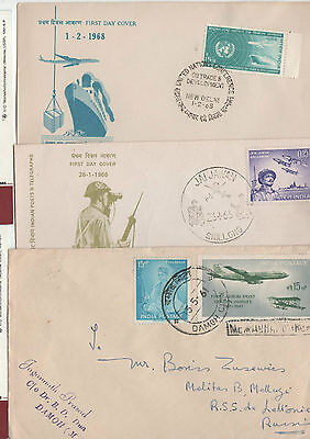 INDIA 3 FDC Cover beleg Aviation plane