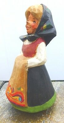 Norwegian CARVING - HENNING - YOUNG GIRL - WOOD CARVED FOLK ART FROM NORWAY