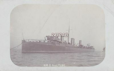 "Royal Navy Real Photo. HMS ""Vulture"" Clydebank 30 knot destroyer. c 1900"